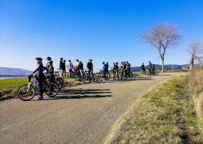 Un piccolo break durante il percorso in bici